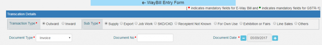 Transaction Type E-Way Bill